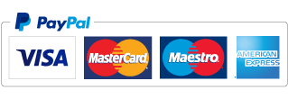 Logo of PayPal and major credit cards.